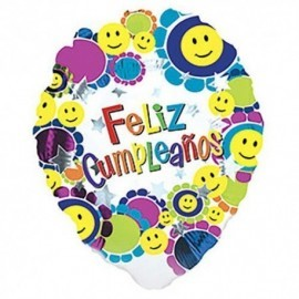 Globo feliz cumpleaños smileys sonrisas 18 helio