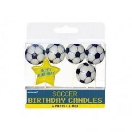 Vela pelota de futbol con palo 6 unidades