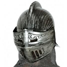 Casco medieval plateado yelmo guerrero soldado