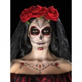 Kit katrina rojo maquillaje gemas y tatuaje
