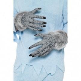 Manos lobo gris manos de mostruo con pelo