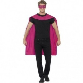 Capa rosa superheroe con antifaz rosa