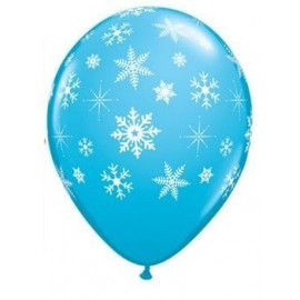 Globo latex azul con copos de nieve 11