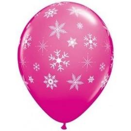 Globo latex rosa con copos de nieve 11