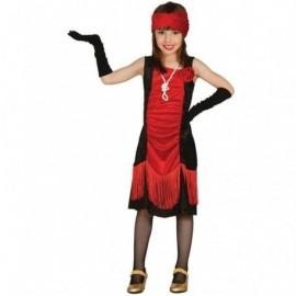 Disfraz de charleston niña talla 10-12 años rojo negr