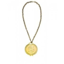 Collar hip hop dollar color oro 58 cm